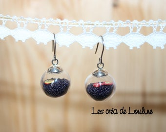 Black microbeads globe earrings