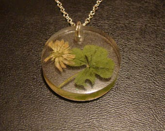 Four Leaf Clover and Blossom Necklace / Cast in Resin / Transparent / Minimalist / Natural Foliage / Good Luck Charm /
