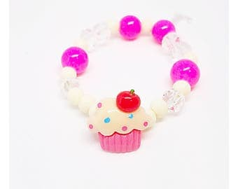 Sweet, Fun, and Pretty - Unique Initial Personalized Cupcake Toddler Bracelet
