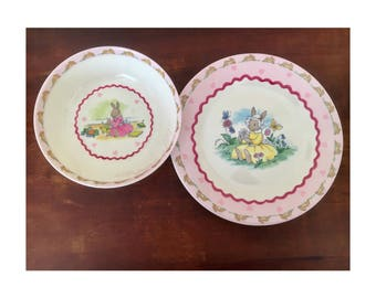Bunnykins melamine bowl and plate