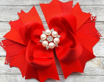 Red Holiday Hair Bow Red Christmas Bow Christmas Hair Bow Holiday Hairbow Christmas Ornaments Red Hair Bow Christmas Hair Clip Gift for girl