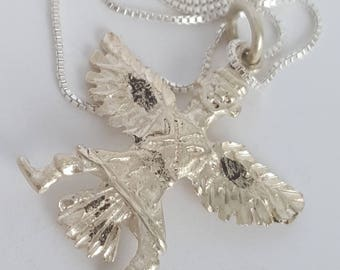 """Vintage Native American Man with Wings Fine Silver Necklace 18"""""""