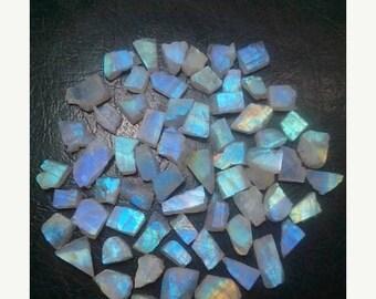 80% OFF SALE 10 Pieces Rainbow Moonstone Rough Slab's