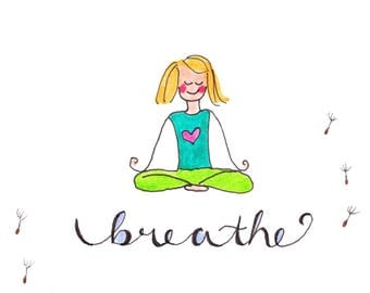 breathe card, just because card, breathe greeting card, thank-you card, get well card, blank card, breathe card, yoga card
