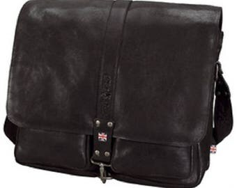 Shoulder bag with notebook compartment, leather, black
