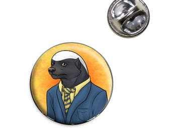 Portrait Of A Honey Badger Lapel Hat Tie Pin Tack