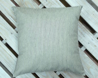 Organic Cotton - French Ticking - Striped Ticking - Black and White -  Gray and White - Custom - Pillow Cover - Oversized Pillow Options