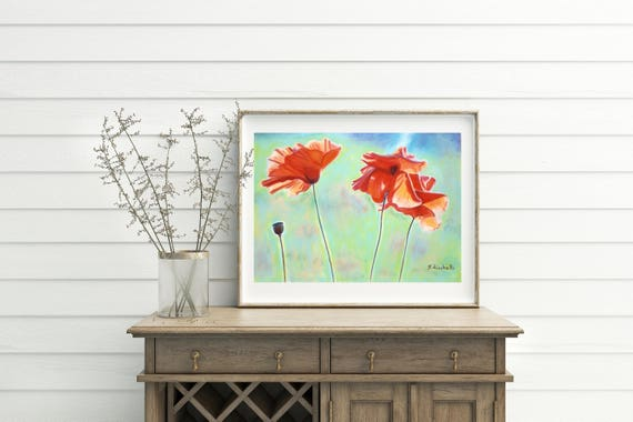 Poppies in the wind, original pastel, giclee fine art print, A5, gift idea for her, wall art, home office decoration, bedroom, living room.
