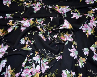100% Viscose Fabric in Black Oriental Floral - By the half metre