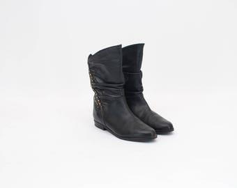 80s Vintage • Vintage ladies Boots • Half Long Boots • Black Leather Boots •  Leather Boots • Women's Boots • US 7.5 • UK 5 • EU 38