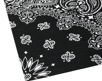 Black Bandana, Cotton Handkerchief, Paisley Bandana, Black Bandanna, Western Bandanna Double Sided, Classic Bandanna, Men's Bandana