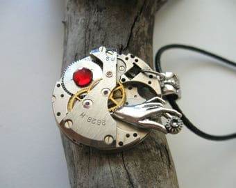 Steampunk hand necklace Steampunk jewelry  Watch Necklace Steam punk for her Steampunk Pendant Statment necklace Vintage necklace