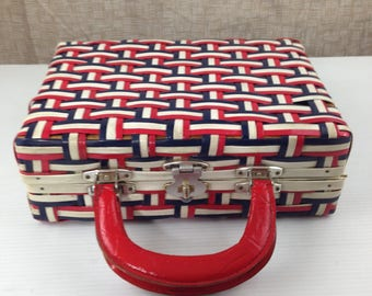 Vintage Vinyl Red White Blue Carry-On Travel Suitcase Briefcase Overnight Bag