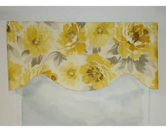 Richloom Large Floral Yellow and Gray Valance