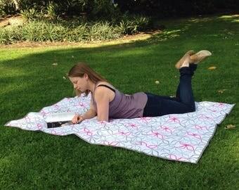 Grey pink geometric pattern picnic adventure blanket beach rug mat flowers