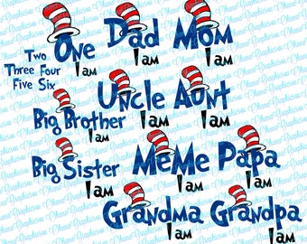 I Am ages One, Two, Three, Four, Five, Six Birthday and Family Names with Hat SVG