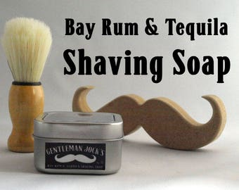 Bay Rum & Tequila Vegan Mens Shaving Soap Gift Set Fathers Day Moustache Beard Grooming Comb Male Gent Shaving Natural Facial Hair