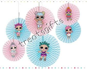 LOL surprise dolls birthday - LOL dolls hanging fans- LOL surprise- lol dolls Party favor- lol dolls goodie bag- lol dolls birthday party