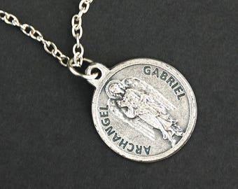 Archangel Gabriel Necklace. Saint Gabriel Prayer Necklace. Round Medal Necklace. Catholic Jewelry. Catholic Angel Necklace.
