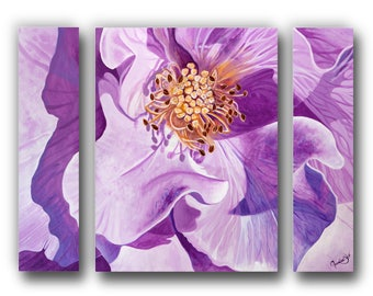 30 in. x 24 in. Giclée, Canvas Print, Triptych, Reproduction, Pink, Rose, Flower, Realism, Contemporary Art, Floral