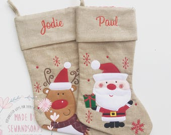 Personalised Christmas stocking {Santa/reindeer designs} my first Christmas, personalized xmas