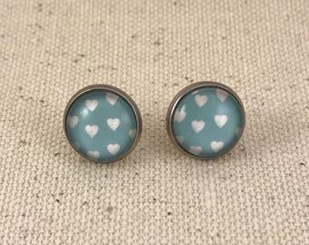 Blue Hearts Stainless Steel Studs Earrings