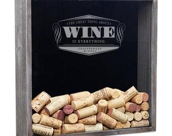 Wine Cork Holder, Wine Cork Shadow Box, Wine Shadow Box, Wine Gift, Bridesmaid Gift, Bridal Shower Gift
