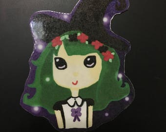 Spoopy witch magnet