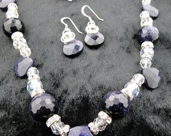 Blue Goldstone with Swarovski Crystal Necklace with Earrings