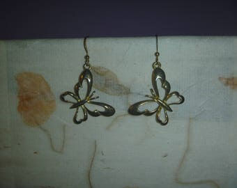dangle earrings, vintage gold tone butterfly earrings