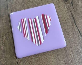 Lavender stripey heart coaster
