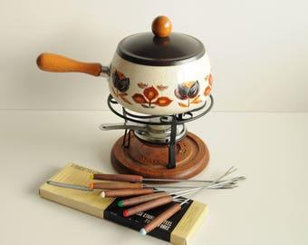 vintage fondue set, fondue pot, base and burner , enamel pot with floral pattern, metal frame, with fondue forks, fondue set 70