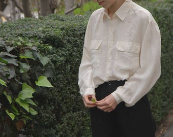vintage silk ivory top || silk blouse || silk button down shirt || sz s - m - l