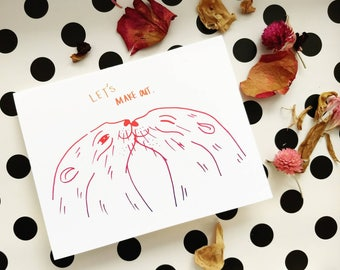 Let's Make Out (Otters) Valentine's Greeting Card