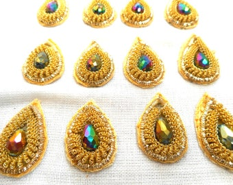 10 Tear drop Indian appliques from Indian made with zardozi and crystal beads.