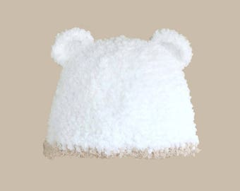 Beanie Baby white fur and beige border with bear ears (0-6 m)