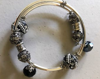 Kashmiri and rhinestone bracelet and earring set