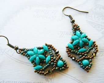 Beaded earrings, jade green, old gold