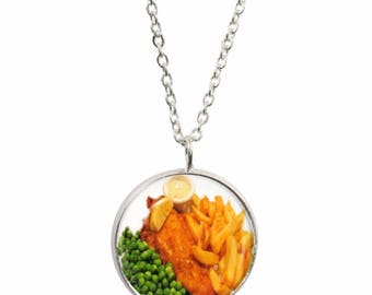 Fish and Chips Pendant and Silver Plated Necklace