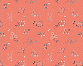 Lewis And Irene Fabric The Hedgerow Hedgerow Flowers On Peachy Coral A252.1