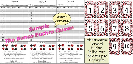 Euchre Tallies (Winner Moves Forward Rotation) Printable Score Sheet / Score  Card / Euchre Tally / With Printable Table Numbers