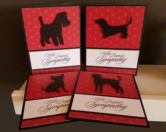 Red/Black Silhouette Pet Sympathy Cards
