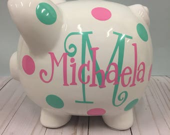 Girl piggy bank etsy personalized piggy bank piggy bank piggy bank for girls monogrammed piggy bank negle Images
