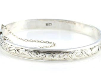 Vintage 1960's Sterling Silver Bangle - English with Full Hallmarks