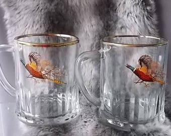 Two Pheasant Bird Pint Mugs, Barware Glasses, Gold Rims, Ribbed Bases, Bar Collectors, Great Bar Decor, Beer Mugs, Vintage Mugs.