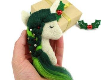Christmas Unicorn Brooch, Festive Unicorn, Christmas Unicorn, Christmas Unicorn Jewellery, Unicorn Gifts, Festive Jewellery, Novelty Brooch