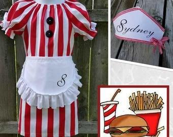 Waitress, 50's Waitress, Car Hop Costume, Waitress Costume, Diner Costume,