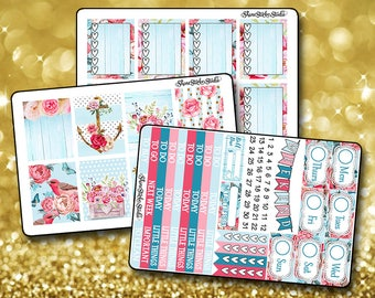 Shabby Chic - Vertical Planner Stickers Erin Condren Life Planner  ECLP Vintage Floral Chic Stickers