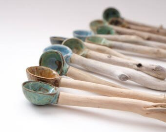 Handmade Ceramic / Pottery & Driftwood Spoons - Nature Inspired Home Decor Handmade in Canada!