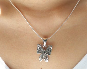 Butterfly Pendant, Silver Butterfly Charm, Minimalist Pendant, Bohochic Jewelry, Gift Pendant, Silver Gifts, Wedding Gifts, Unisex, P61